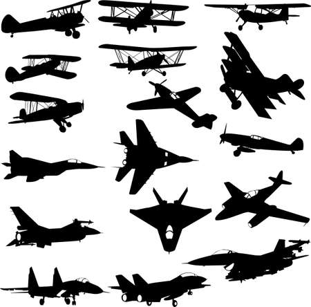 fighter pilot: military airplanes - vector Illustration