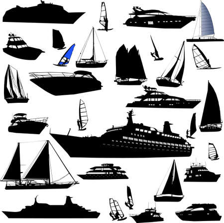 old ship: collection of sea tranportation vector (cruise, motor-yatch, sailing boat)