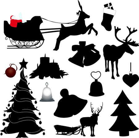 christmas sleigh: christmas elements collection - vector Illustration
