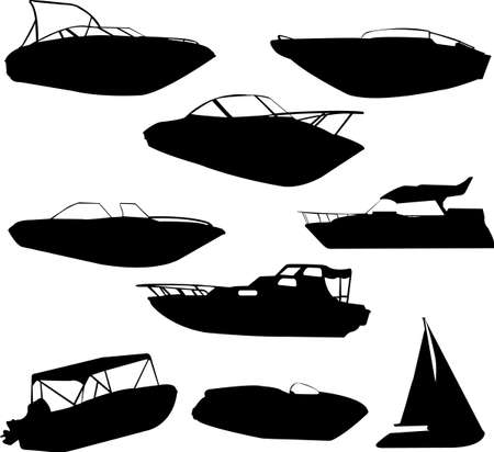 motor transport: boats silhouettes - vector
