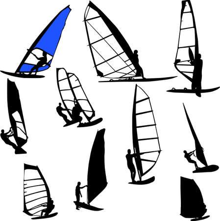 windsurfing: windsurfing - vector