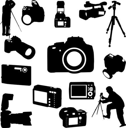 focus on shadow: photographers and cameras - vector