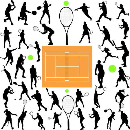 tennis players big collection - vector