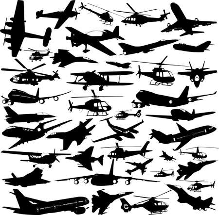 airplanes,military airplanes,helicopter collection 1 - vector