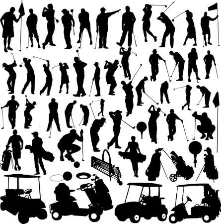 golfers: Golf players and equipment big collection - vector