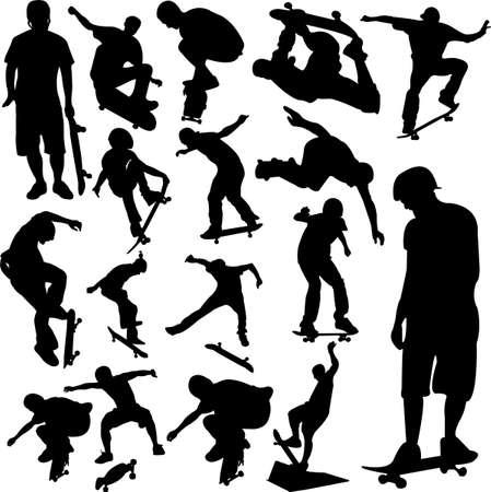 niño en patines: skateboarders siluetas colección - vector Vectores