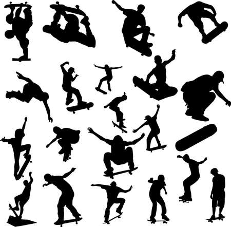 skateboarding tricks: skateboarding set - vector Illustration