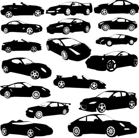 transportation silhouette: sport car - vector Illustration