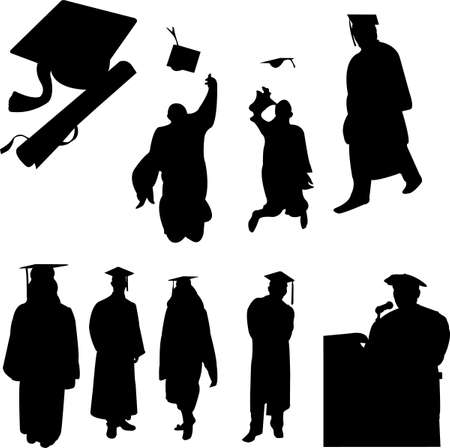cap and gown: graduation students collection - vector Illustration