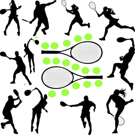 tennis tournament: tennis collection 1 - vector Illustration