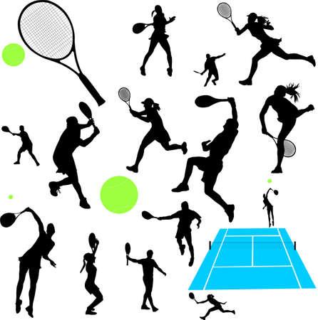 raqueta de tenis: recolección de tenis - vector Vectores