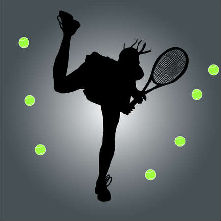 tennis player - vector Stock Vector - 12494624
