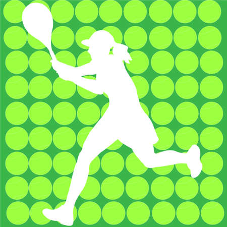 tennis player with halftone background - vector Vector
