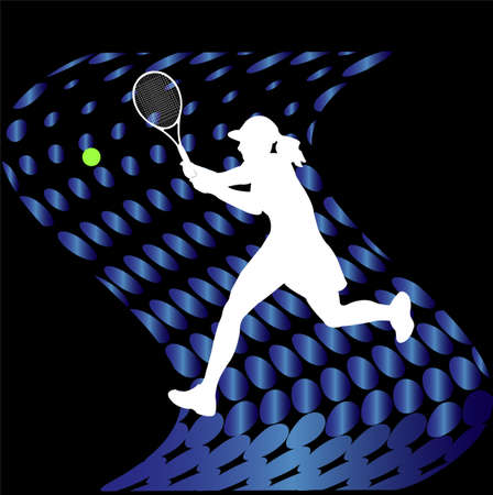 backhand: tennis players on abstract halftone background - vector