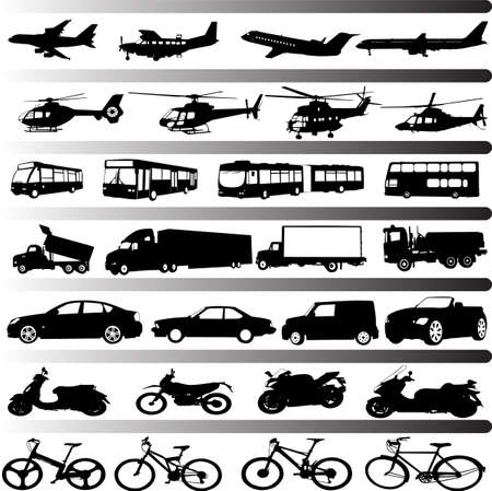 pickup truck: transportation set vector Illustration