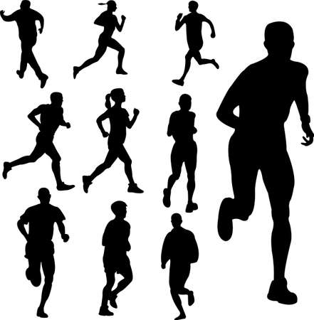 female athletes: people running - vector Illustration