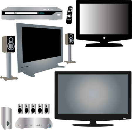 tv screen: LCD TV, dvd player, audio and control - vector