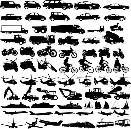 transportation silhouettes collection - vector Vector