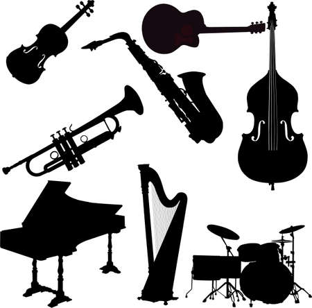 instruments de musique: instrumens collection - vector Illustration