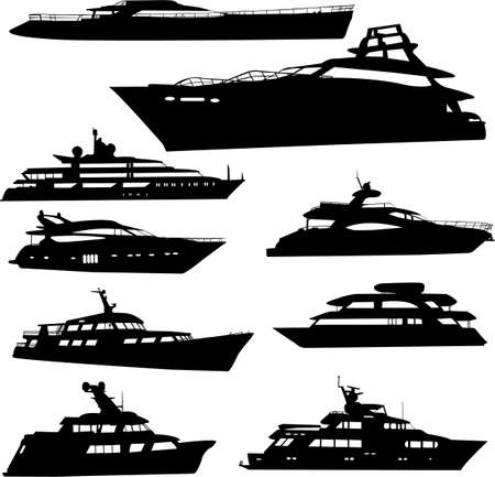 ship captain: yacht colection - vector