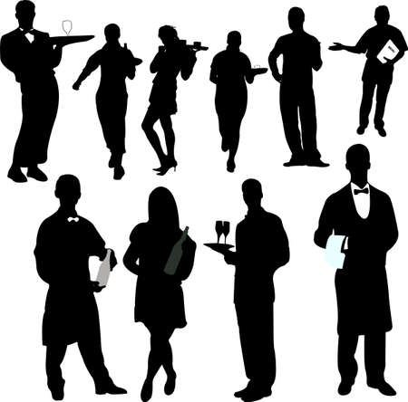 men bars: waiters and waitresses silhouette collection - vector