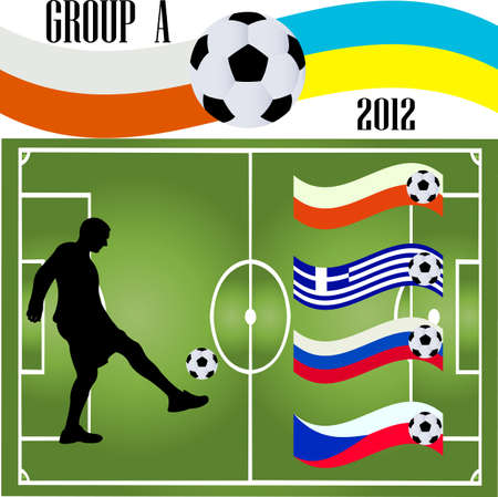 soccer player and flag - vector Stock Vector - 13590764