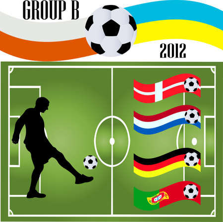 soccer player and flag 2012 - vector Vector