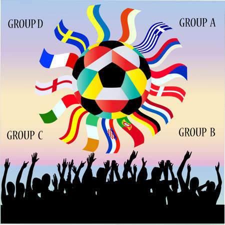 offside: Vector Collection of National Flags - Groups of European football championship 2012 Illustration