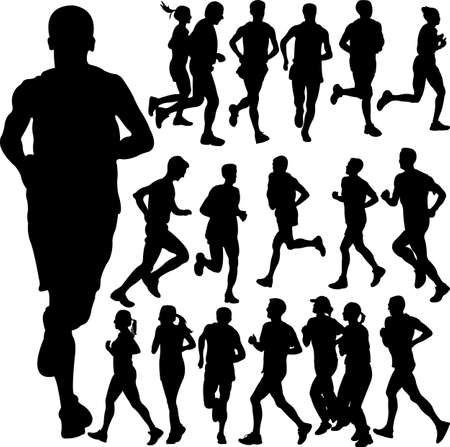 body outline: running people set vector 2