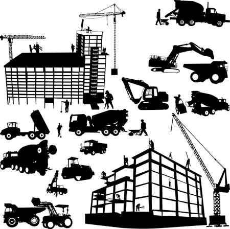 yellow tractor: en construcci�n - vector