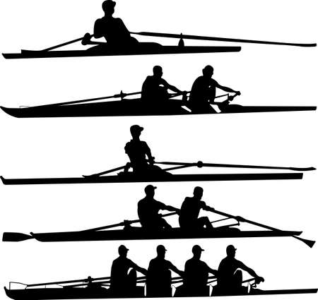 rowing boat: rowing set - vector Illustration