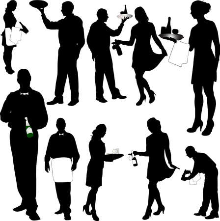 catering service: waiters and waitresses silhouette collection