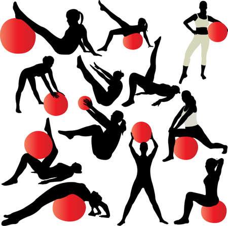fitness ball: Pilates mujeres siluetas