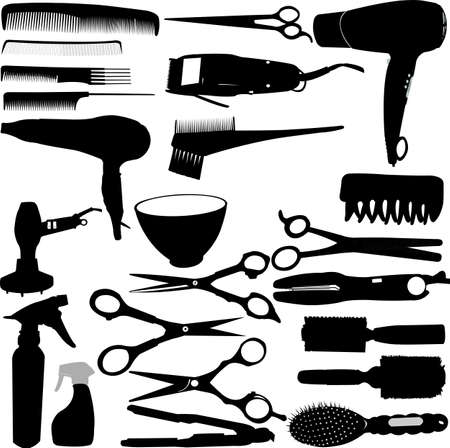 Hairdressing related symbols  Vector