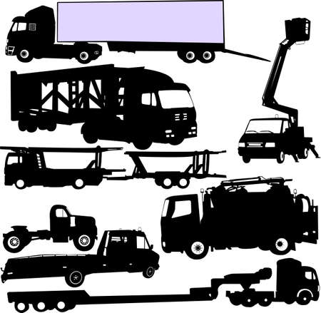 truck silhouettes set Stock Vector - 22449171