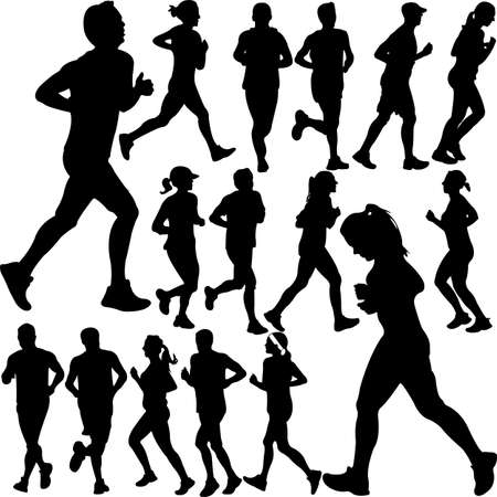 people running collection 1 - vector