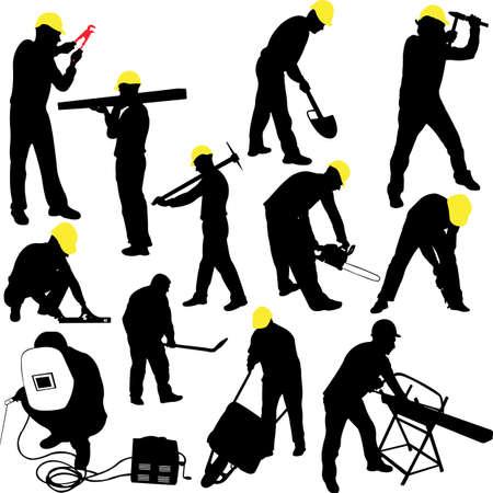 travailleurs silhouettes collection - vecteur