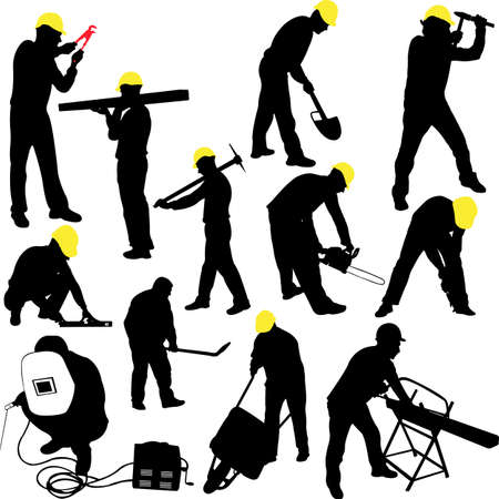 digger: workers silhouettes collection - vector Illustration