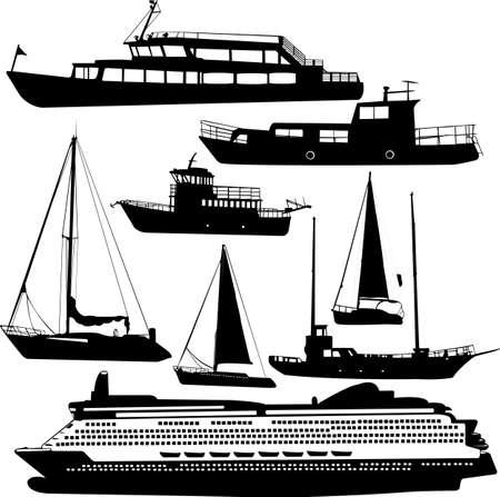 galley: ships transportation collection vector cruiser, motor-yacht Illustration