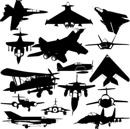 jet fighter: military airplanes collection 1 - vector Illustration
