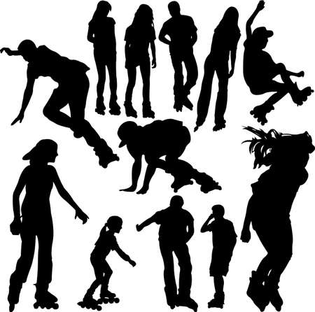 roller skating: rollerskating silhouettes 1