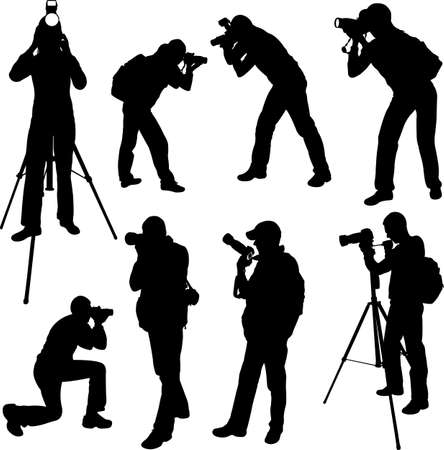 the photographer: photographer silhouettes - vector 3