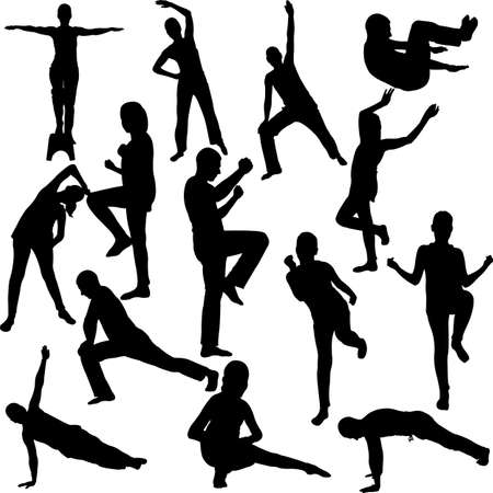 fitness instructor: aerobics collection - vector 1 Illustration