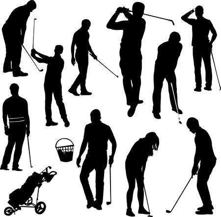 Golf players silhouettes - vector Stock Vector - 24233733