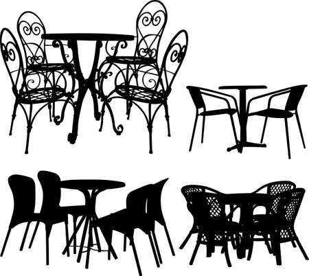 tables and chairs collection  Vector