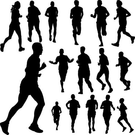 man outdoors: people running collection 2 - vector