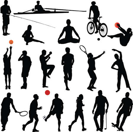 swim race: sport and recreation silhouettes