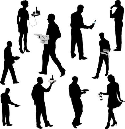 waiters and waitresses silhouette collection 1 - vector Vector