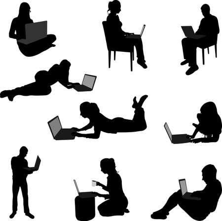 girl laptop: people working on their laptops silhouettes Illustration