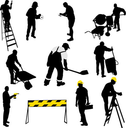 construction workers silhouettes - vector Иллюстрация